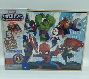 Marvel Super Hero Adventures 5 Wood Puzzles Storage Box Tray Puzzle Spider-Man