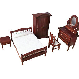 Dollhouse Wooden Furniture Classical Bedroom Set 1:12 Miniature Accessories