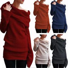 Sexy Women Winter Off Shoulder Casual Jumper Long Sleeve Pullover Sweater Dress