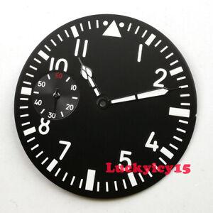 38.9mm black watch dial luminous fit for ETA 6497 movement Dial+hands D165