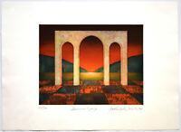 Yoshimitsu Hirota: Sonnenuntergang. [19]76. Signierte Original-Farbradierung.
