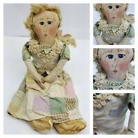 Handmade Primitive Folk Art Painted Cloth Vtg Doll antique quilt skirt real hair