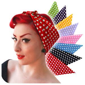Rockabilly Polka Dot Bandana, Rosie the Riveter, Retro Headscarf, Spotty Scarf
