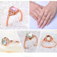 Wedding Adjustable Jewelry Opal Rings Pink Quartz Gold Plated Rose Crystal