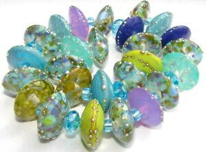 """Sistersbeads """"H-Blue Oasis"""" Handmade Lampwork Beads"""