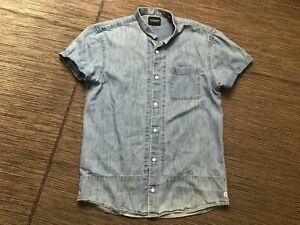 Scotch Soda Mens Medium Stand Grandad Collar Denim Button Up Shirt
