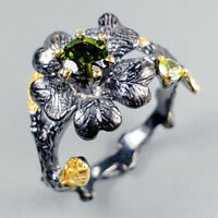 Handmade Ring Natural Tourmaline 925 Sterling Silver Ring Size 7/R122510