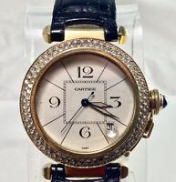 Cartier Pasha Automatic Solid 18K Yellow Gold Round Diamond Bezel Watch 38mm