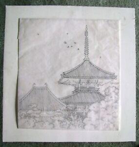 "Ryohei Tanaka - ""HOKKIJI Temple"" - 1987 Initial Drawing"