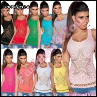 Sexy Ladies Tank Top Women's Stretchy Fitted Casual Vest Top ONE SIZE 6,8,10 UK