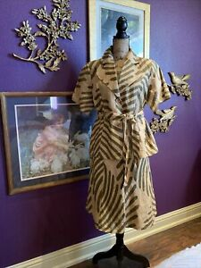 Classic Safari Belted Linen Dress 2 Piece Skirt Blouse Lined 2x Plus