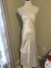 Vintage Victoria Secret Long Satin Cream Nightgown Nightie Lingerie Size Medium