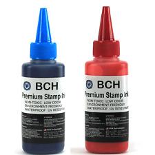 BCH Premium Stamp Ink Refill for Stamps or Stamp Pad BLUE RED COMBO 2.5 oz Each