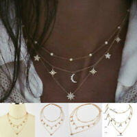 Fashion Multilayer Gold Chain Choker Star Moon Pendant Necklace Women Jewelry