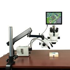 2.1X-225X 5MP Touchscreen Zoom Stereo Articulating Microscope 30W LED Y-Light