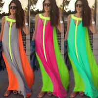 Women Lady Sexy Boho Chiffon Long Dress Evening Party Cocktail Maxi Summer Beach