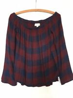 Anthropologie Cloth & Stone Top Small Plaid Flannel Shirt Elastic Off Shoulder