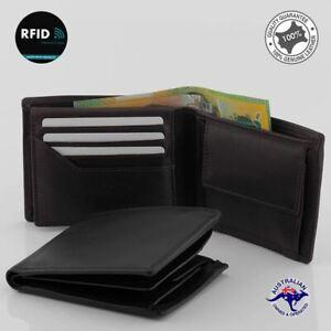 RFID Genuine Full Grain Cowhide Leather Wallet Black 9 Cards Slots Coin New Oran