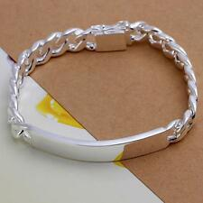 Men Silver ID Link Curb Chain Bracelet Bangle Jewelry 10MM