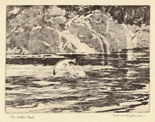 The Kettle Pool, SUPERB Norman Wilkinson fishing print 1930s, ready mounted