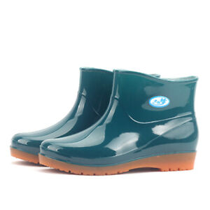 Women's Slip On Round Toe Waterproof Anti-Slip Garden Chelsea Ankle Rain Boots