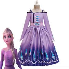 2019 New Girls Frozen 2 Purple Elsa Costume Party Birthday Dress 3-10 Years