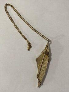 "CAMPUS JR 1961 Gold Tone Pendant Necklace Modernist Brutalist Style 3 5/8"" Long"