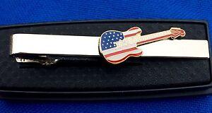 Guitar Tie Clip Electric guitar Tie Bar Patriotic guitar Instrument band tie