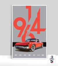 """Red Porsche 914-6 Poster. Aluminum poster 36""""x 24"""""""