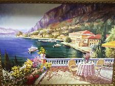 CUADRO ANTIGUO casa en el lago flor cuadro con marco 90x70 Marco L6