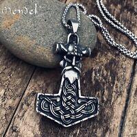 MENDEL Mens Stainless Steel Nordic Viking Thors Hammer Mjolnir Pendant Necklace