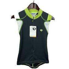 Pearl Izumi Men's Sz Small Gray Bright Green 1/2 Zip Sleeveless Cycling Jersey
