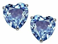 2 ct. Heart Aquamarine Stud Earrings in Solid Sterling Silver ~ MARCH BIRTHSTONE