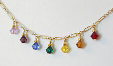 14k Gold Filled Chakra Necklace with Swarovski Crystals