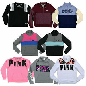 Victoria's Secret Pink Sweatshirt Quarter Zip Pullover Graphic Long Sleeve New