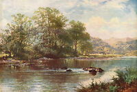 BW LEADER 1887 Oil Painting THE STREAM IN SUMMER Vintage Artwork 1930 Book Print