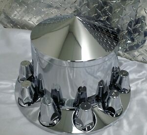 "4 x Chrome plastic rear axle hub kits ""POINTED"" May suit Kenworth,Freightliner"