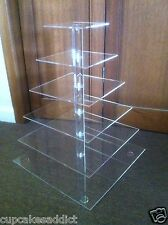 6 TIER CLEAR ACRYLIC  SQUARE CUPCAKE CUP CAKES STAND TOWER WEDDING PARTY DISPLAY