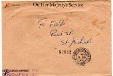 Barbados 1968 cvr with Supervisor - Parcel Post /for Postmaster General handstmp