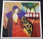 "25.25""x25"" Indigo Chapeau - Itzchak Tarkay Fine Art Painting  Park West COA /500"