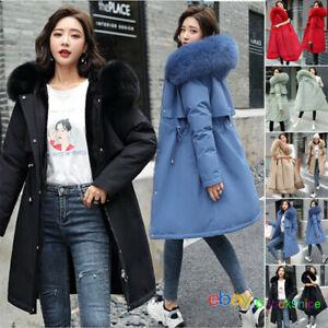 Women winter coat Down jacket Ladies fur hooded jackets Long puffer parka UK6-20