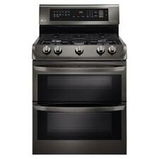 "LG LDG4313BD 30"" Black Stainless Double Oven Gas Range Convection NIB"