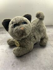 Vintage 1988 Dakin Classique Gray Plush Cat Blue Eyes.