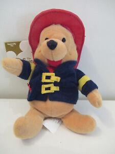 "Disney Store - Winnie the Pooh Mini Bean Bag 8"" - Retired - Fireman"