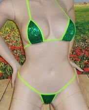 green avatar micro 2pc g-string bikini holographic hot sexy made in USA size S/M