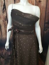 BCBG Max Azria tube top long gown Size Large Brown Print Tulle