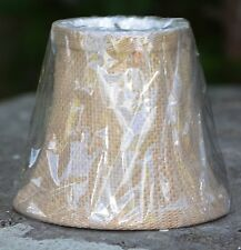 Burlap Fabric Miniature Bell Lamp Shade New In Package Bulb Clip Fitter