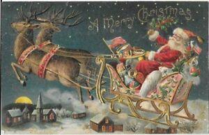 ANTIQUE EMBOSSED CHRISTMAS Postcard   SANTA, PINK SLEIGH, REINDEER, RED HARNESS