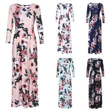Women's Casual Floral Print 3/4 Sleeves Side Pockets Maxi Dress Size AU8-18