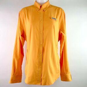 Columbia PFG Omni Shade Orange Snap Up Vented Roll Tab Shirt Women's Size Large